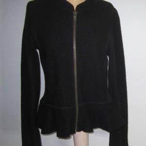 Halogen M Black Boiled Wool Cardigan Sweater